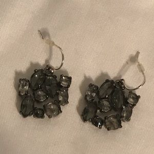 J.Crew Gray Rhinestone Cluster Earrings